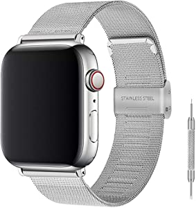 Stainless Steel Bracelet Metal Strap Compatible for Apple Watch Band 42mm 44mm, Mesh Adjustable Sport Loop with Double Buckle Replacement Band for Iwatch Series 5/4/3/2 (Silver, 42/44mm)…