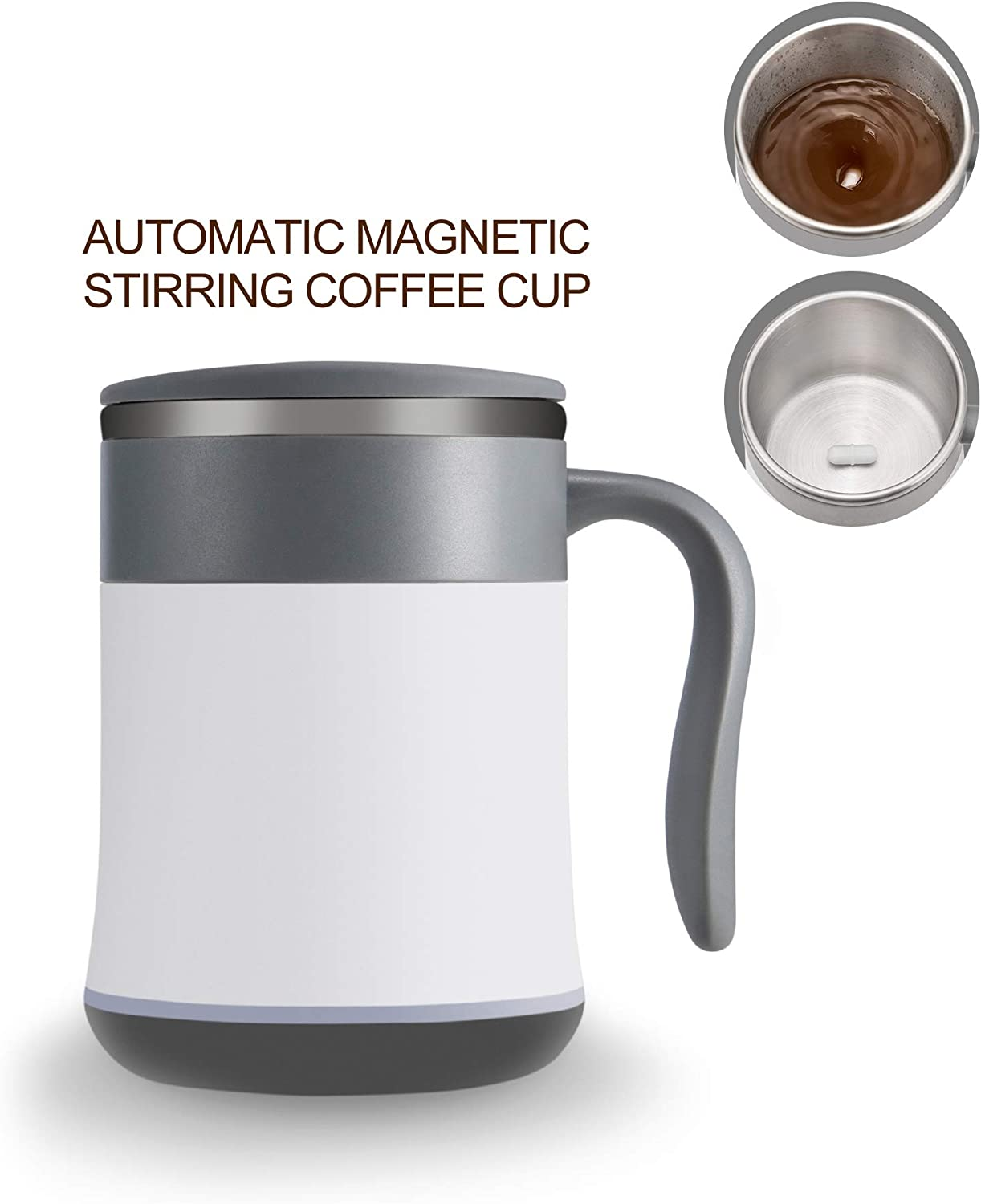 automatic electromagnetic stirring coffee cup,self stirring coffee mug battery-free hot water insulation, self-mixing cup, beverage, cup, compact, waterproof, lightweight, home, work, travel gifts