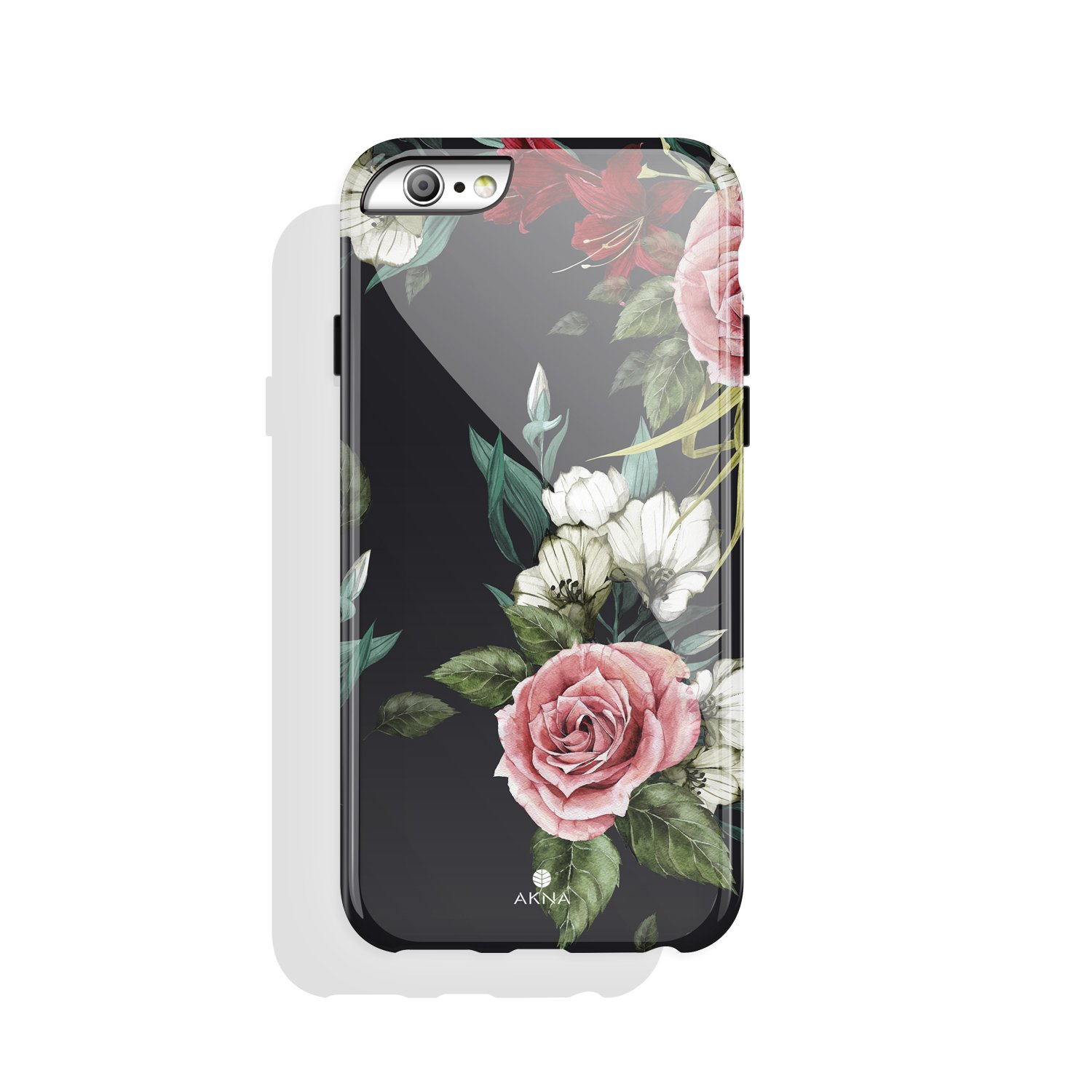 iPhone 6/6s case for girls, Akna Collection High Impact Flexible Silicon Case for both iPhone 6 & iPhone 6s [Roses And Lilies](750-U.S)