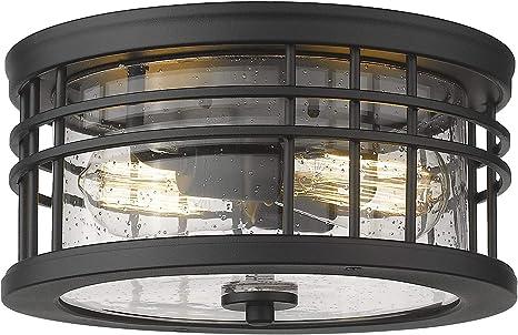 Zeyu Flush Mount Ceiling Light 2 Light Farmhouse Semi Ceiling Light Fixture For Kitchen Hallway 12 Inch Black Finish With Seeded Glass Zw01 F Bk Amazon Com