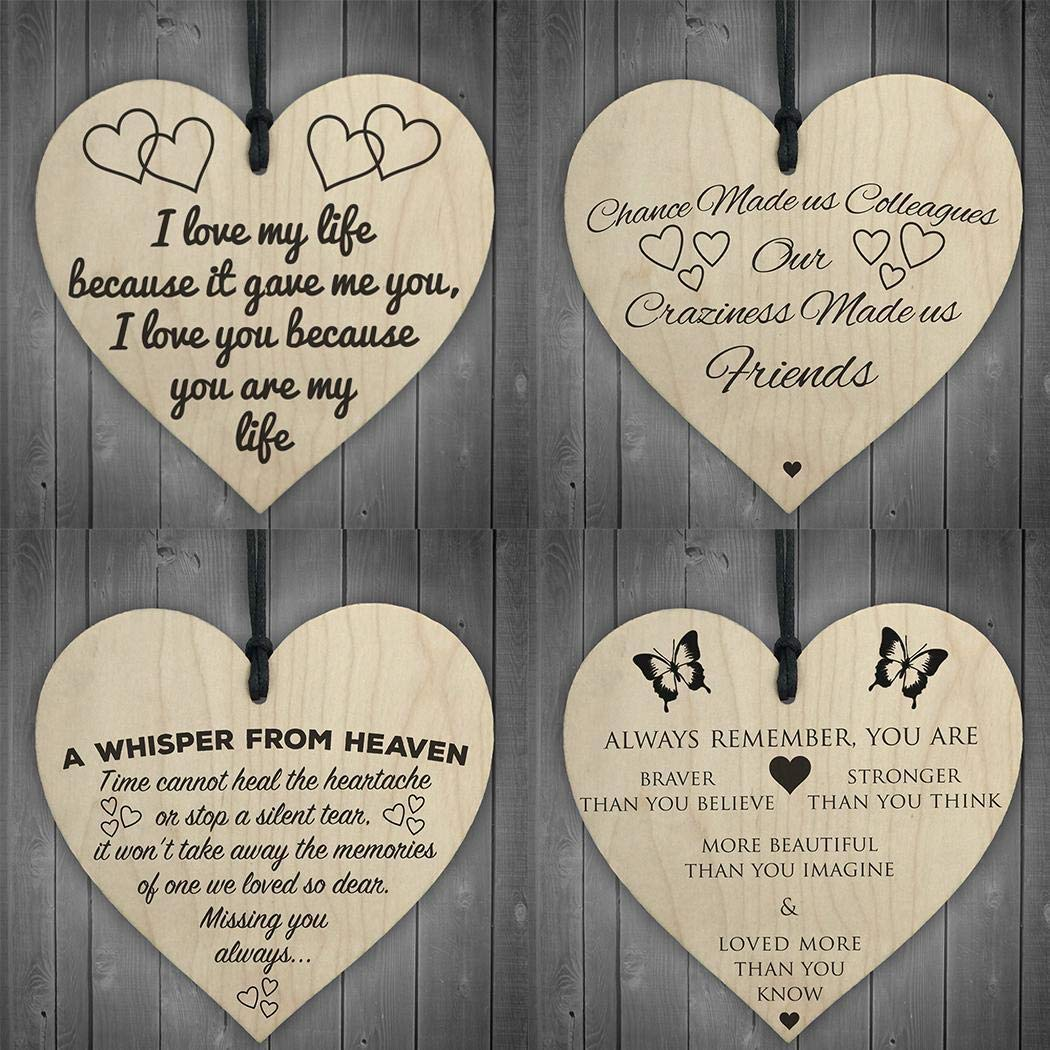 Zhuygba Home Art Decor Heart Shape Doors and Windows Wooden Decoration Signs Personalised Occasion Message Sign Shabby Chic Wooden Wall Plaque-10 x 10cm