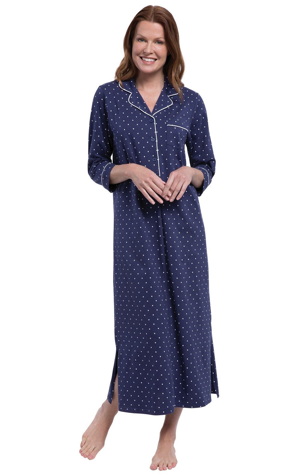 PajamaGram Women's Nightgown Cotton Soft - Women's Night Gown, Navy, M, 8-10