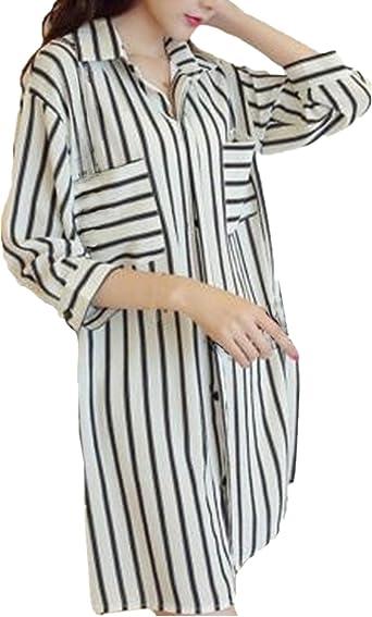 ZANZEA Women Long Sleeve Striped Collared Tops Shirts Casual Baggy Tunic Blouses