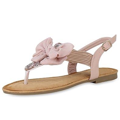 SCARPE VITA Damen Sandalen Zehentrenner mit Blockabsatz Strass Schleifen