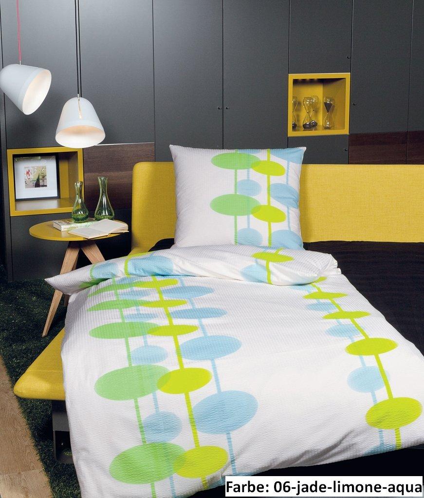 Janine 2413 Tango Soft Seersucker Bettwäsche Garnitur in jade limone aqua 200x200 + 2x 80x80 cm