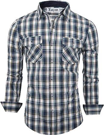 Men Long-Sleeve Vertical Stripes Button Down Shirt Snap-Front