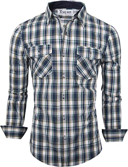 Men/'s Spring Casual Slim Fit Striped Long Sleeve Button Shirts Tops Blouse US Y