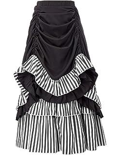 ff1228da1ac7 Belle Poque Women Steampunk Gothic Skirt Victorian Ruffled Skirt Renaissance  Costume
