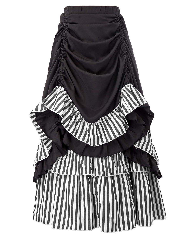 Saloon Girl Costume | Victorian Burlesque Dresses & History Women Steampunk Vintage Skirt Victorian Ruffled Skirt Dickens Costume $35.99 AT vintagedancer.com