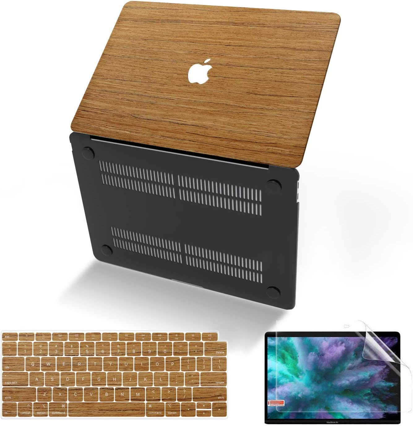 MacBook Air 13 Inch Case 2020 2019 2018 Release A2179 A1932, Anban Slim Wooden Hard Corner Protective Shell Cover with Keyboard & Screen Protector Compatible Mac Air 13 with Retina Display & Touch ID