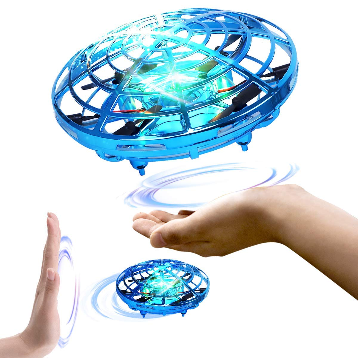 Hand Operated Drones for Kids or Adults, Light Up Joy Flying Ball Drone, Helicopter Mini Drone, Easy Indoor Small Flying Toys for Boys or Girls (Blue)