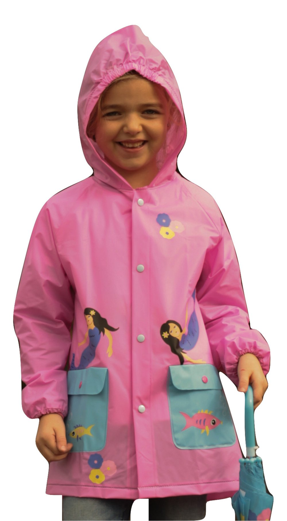 Kid's Rain Jacket: Rain Coat for Boys, Girls & Toddlers, with Fun Colorful Prints, Little or Big Kids, Mermaid, Medium