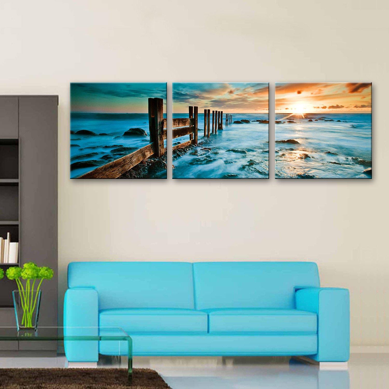 GaoRuiRuiL Küstenlandschaft Dekorative Malerei, Rahmenlos Gemälde, Dekorative Malerei der Wohnzimmer Restaurant 3PCS, 50  50  3