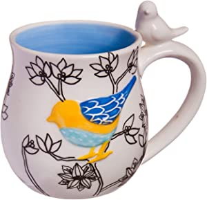 Cypress Home Bird Hand Painted Sculpted Ceramic Mug
