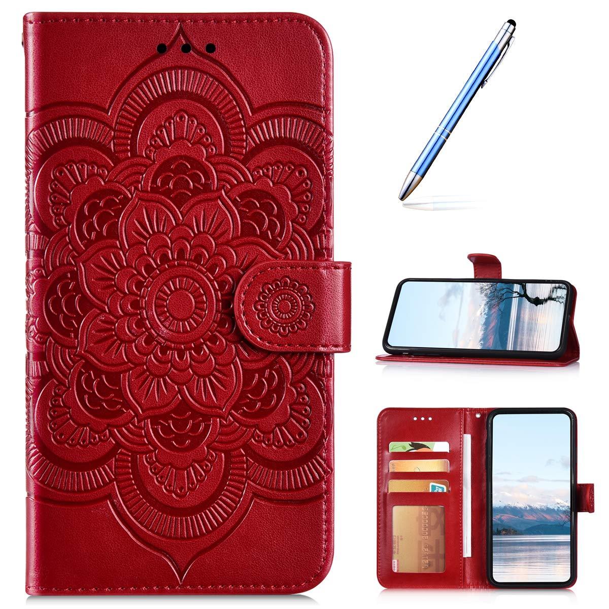Robinsoni Compatible avec Nokia 3.1 Plus Coque,Pochette Portefeuille en Cuir Housse de Protection,3D Mandala Fleur Coque Étui à Rabat Magnétique Carte Slot Clapet Flip Case Cover Wallet,Rouge