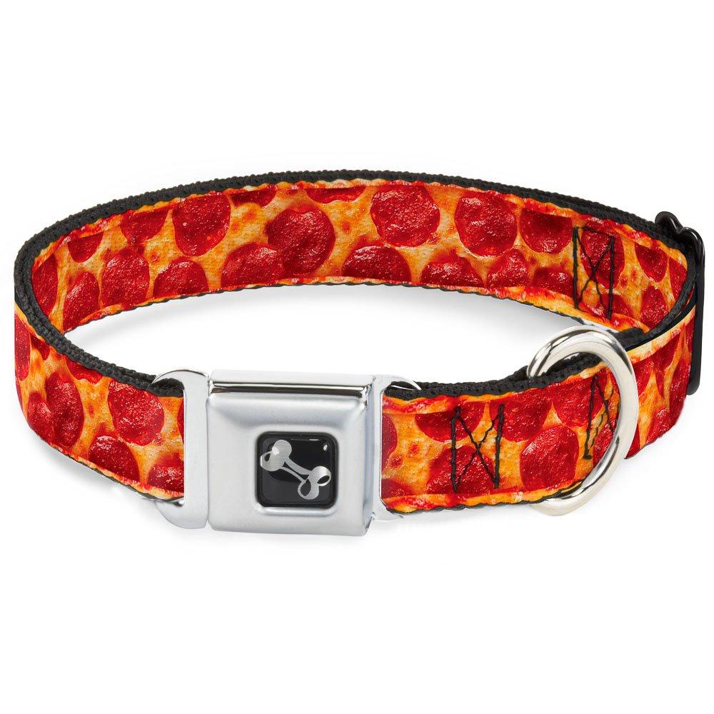 Buckle-Down 9-15  Pepperoni Pizza W Crust Vivid Dog Collar Bone, Small