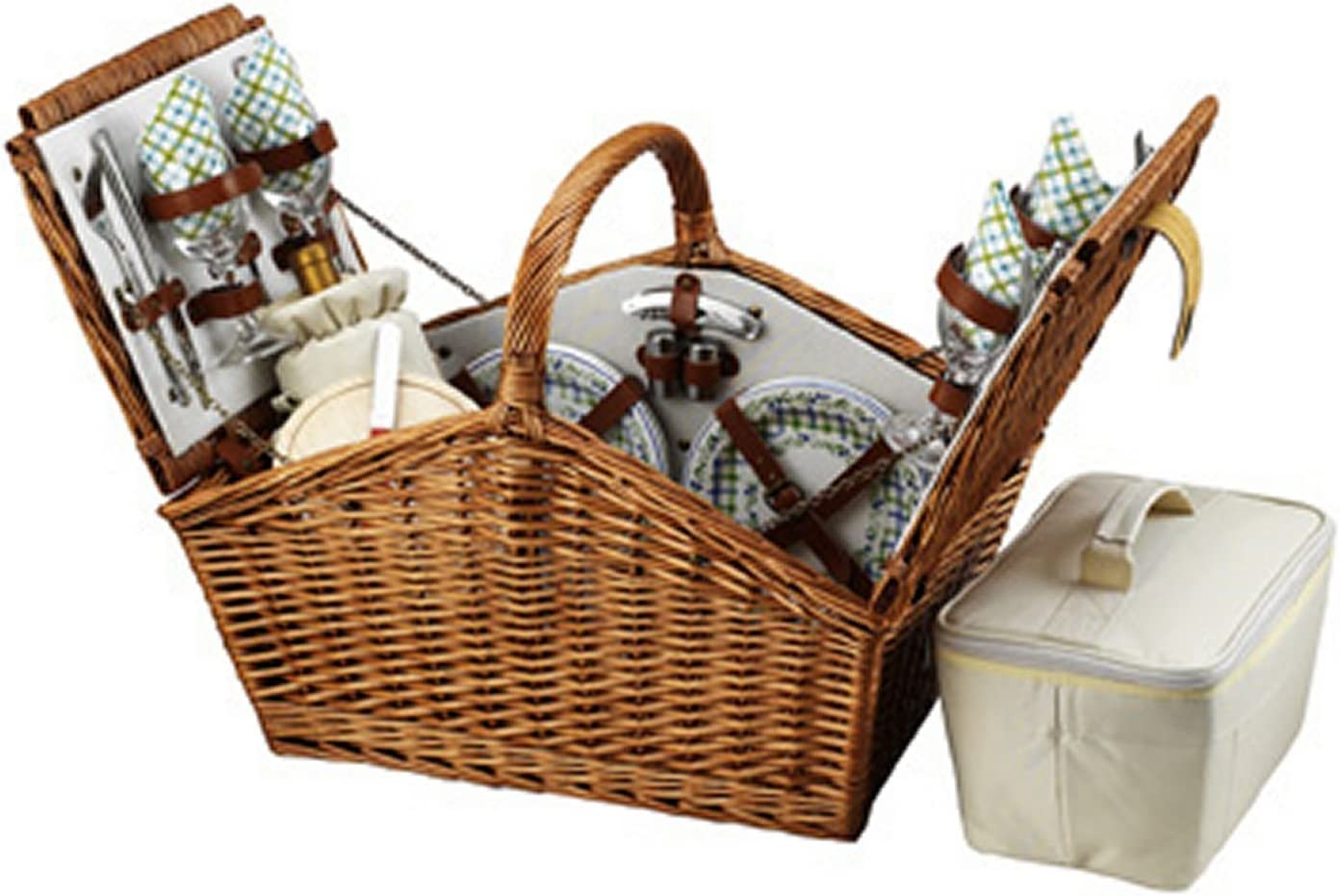 Picnic at Ascot Huntsman English-Style Willow Picnic Basket with Service for 4 – Gazebo