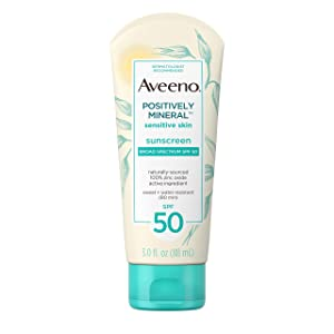 Aveeno Positively Mineral Sensitive Skin Daily Sunscreen Lotion with SPF 50 & 100% Zinc Oxide, Non-Greasy, Sweat- & Water-Resistant Sheer Sunscreen for Face & Body, TSA-Friendly Travel-Size, 3 fl. oz