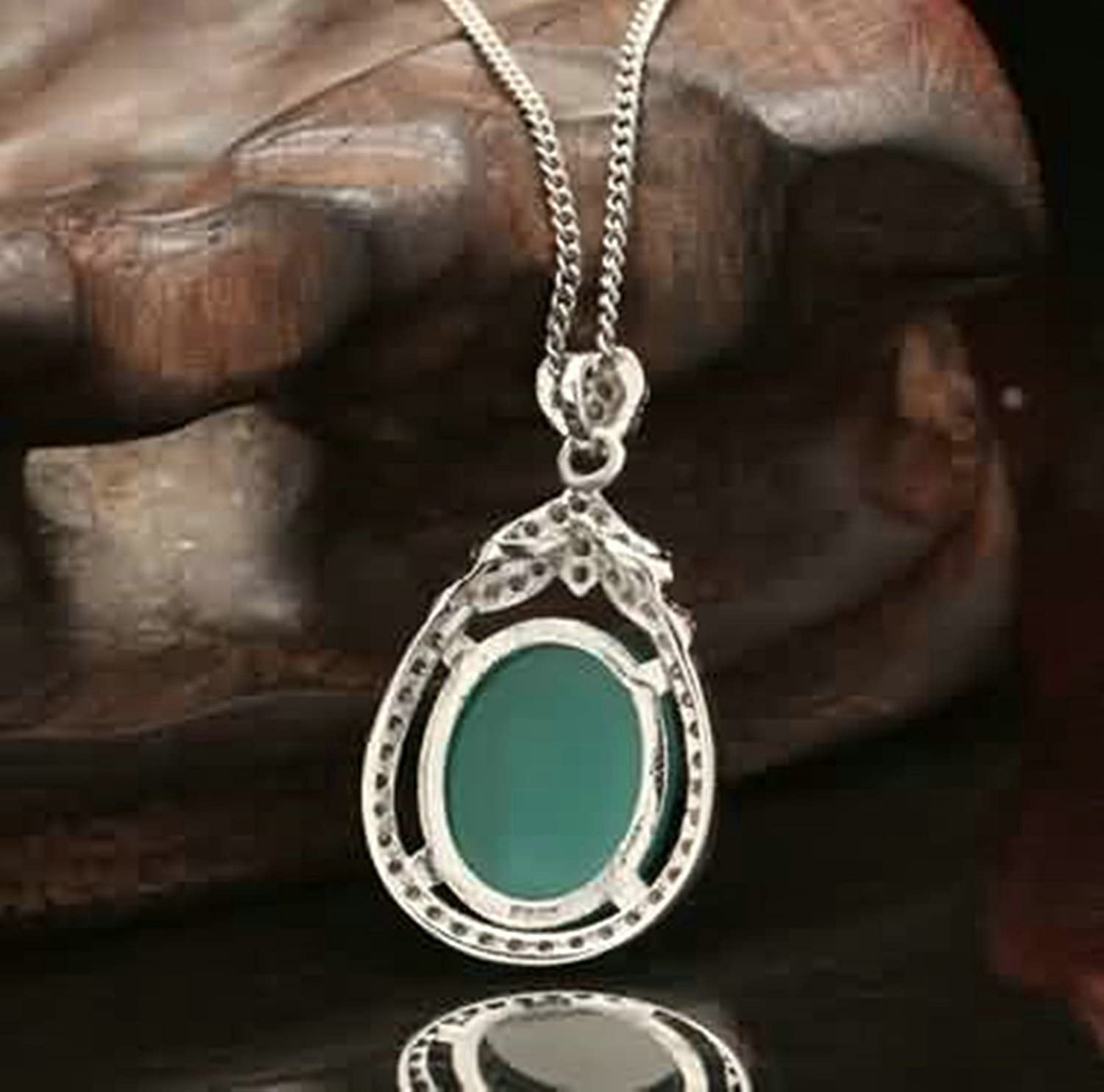 AMDXD Jewelry Women Silver Plated Pendant Necklaces Water Drop Green 2.5X1.44CM