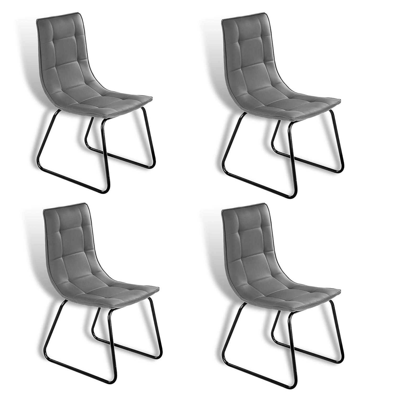 ESTEXO Retro Esszimmer Stuhl Modell Rakel Grau 4er Set