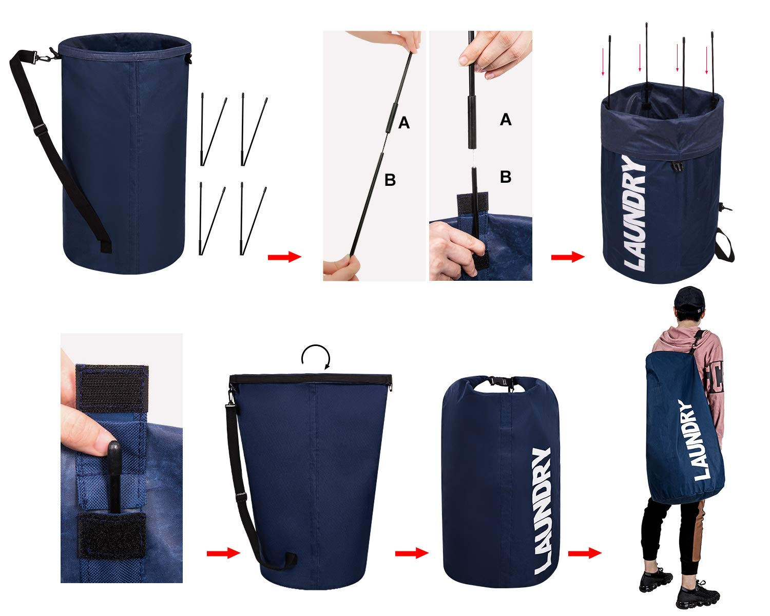 WOWLIVE Extra Large Foldable Laundry Hamper Durable Laundry Basket Collapsible Laundry Bag Backpack Laundry LinerDirty Clothes Hamper Standing Waterproof Hamper for Laundry (Dark Blue)