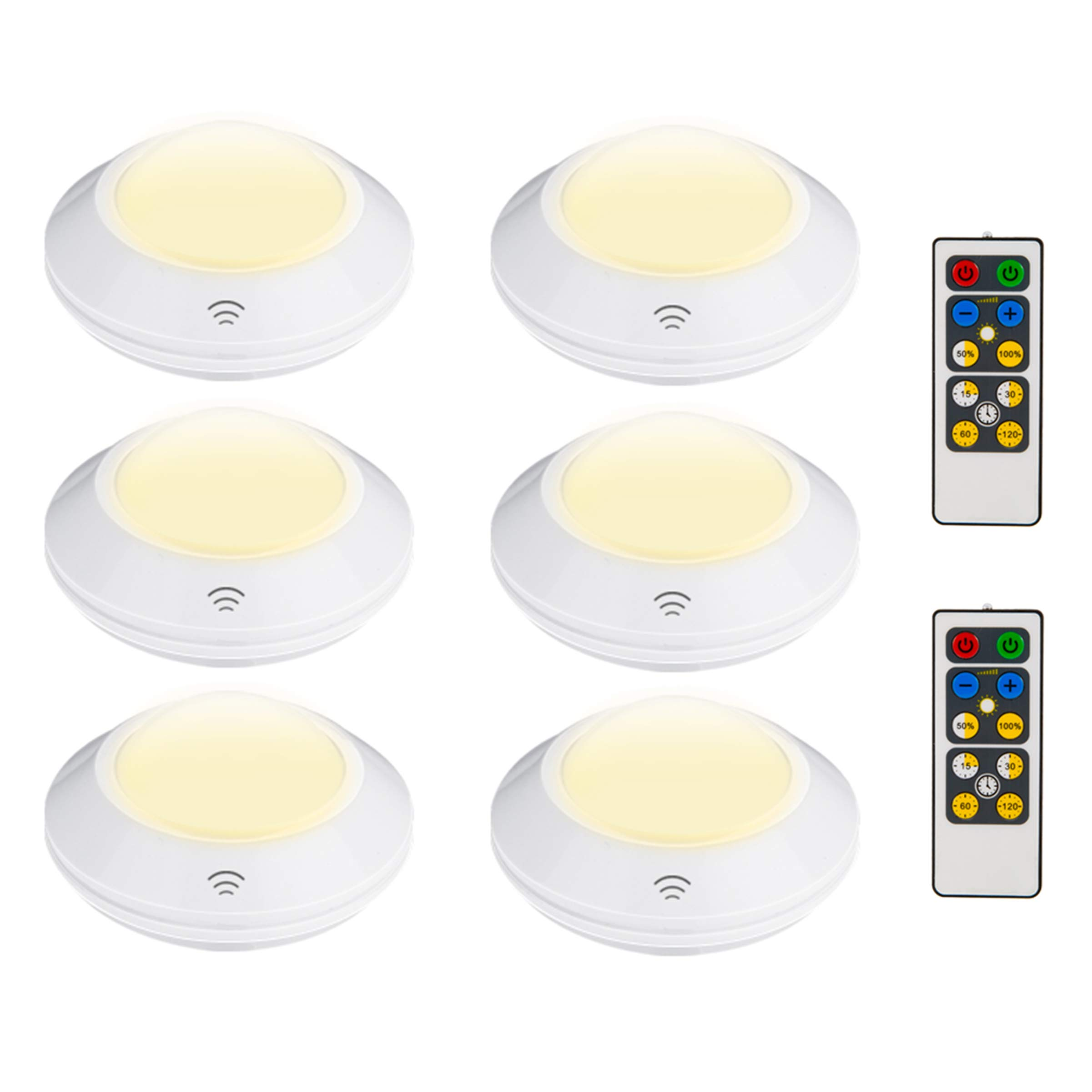 HONWELL Wireless LED Cabinet Lights Remote Controlled Puck Lights with Brightness Dimmable and Timer Preset AA Battery Powered Closet Lights Stick on Anywhere Kitchen Under Cabinet Lighting, 6PACK