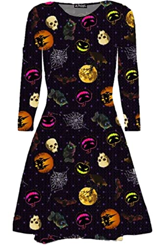 BE Jealous Donna Costume Halloween Ghost Moon Stampa STRAVAGANTE party Swing MINI ABITO UK TAGLIE FO...