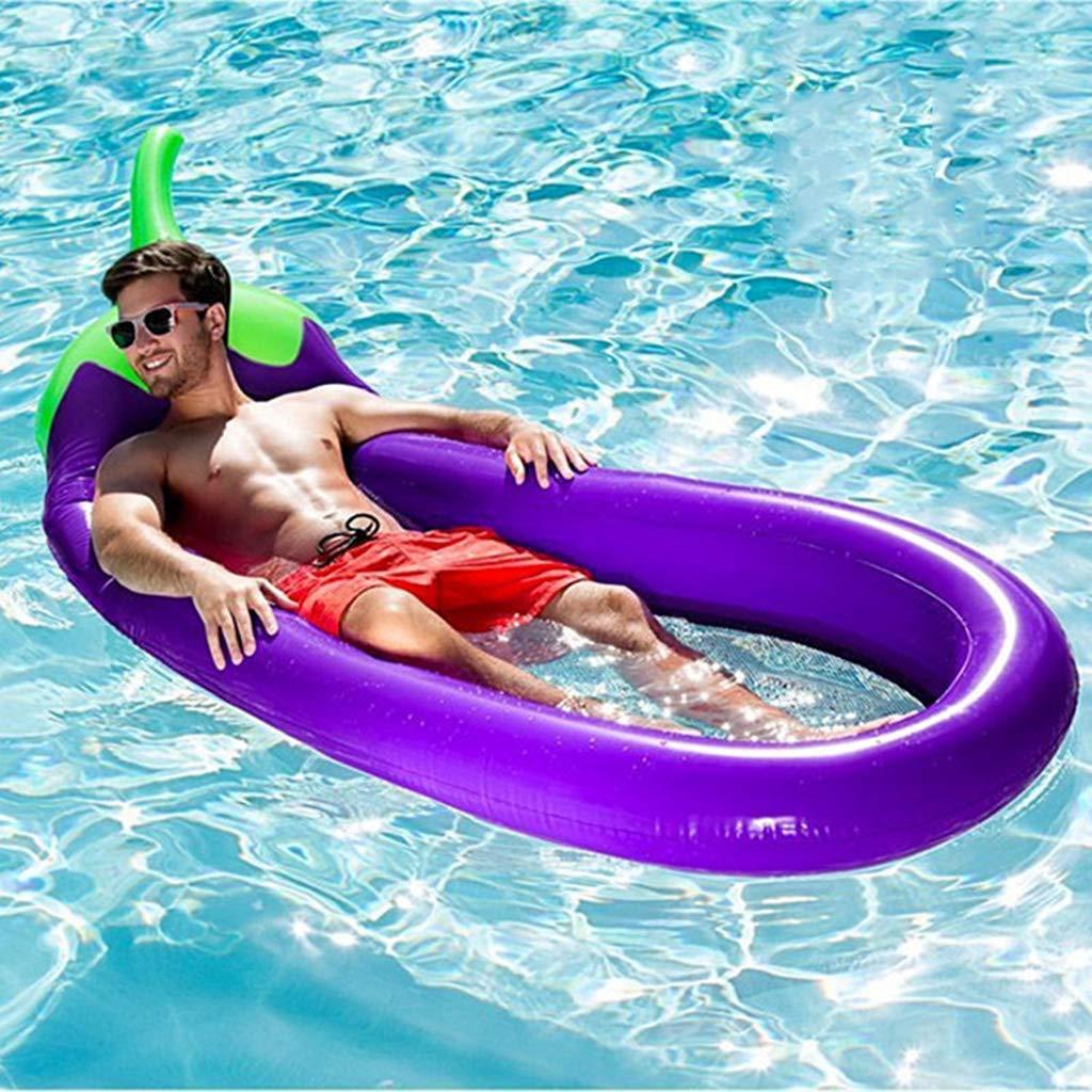 Welhome Riesige aufblasbare lila Auberginen Rettungsring Pool Float, Außenpool Floatie Float Lounge Spielzeugbett für Erwachsene, Kinder Nehmen Sie EIN Foto 270  110cm (Inflatorpumpe),lila lila