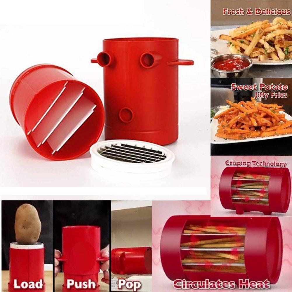 KOBWA Fries Potatoes Maker,2-in-1 French Fries Cutter Machine & Microwave Container Potato Slicers Maker