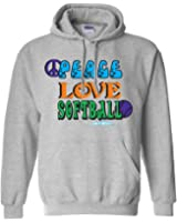 Sports Katz Womens 'Peace Love' SOFTBALL Hoodie