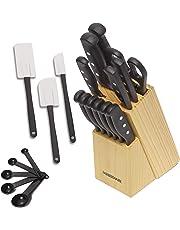 Farberware Set de cuchillos con triple remache (no requieren afilado) y utensilios de cocina, 22 piezas