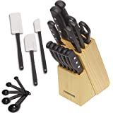 Farberware 22-Piece Never Needs Sharpening Triple Rivet High-Carbon Stainless Steel Knife Block and Kitchen Tool Set…