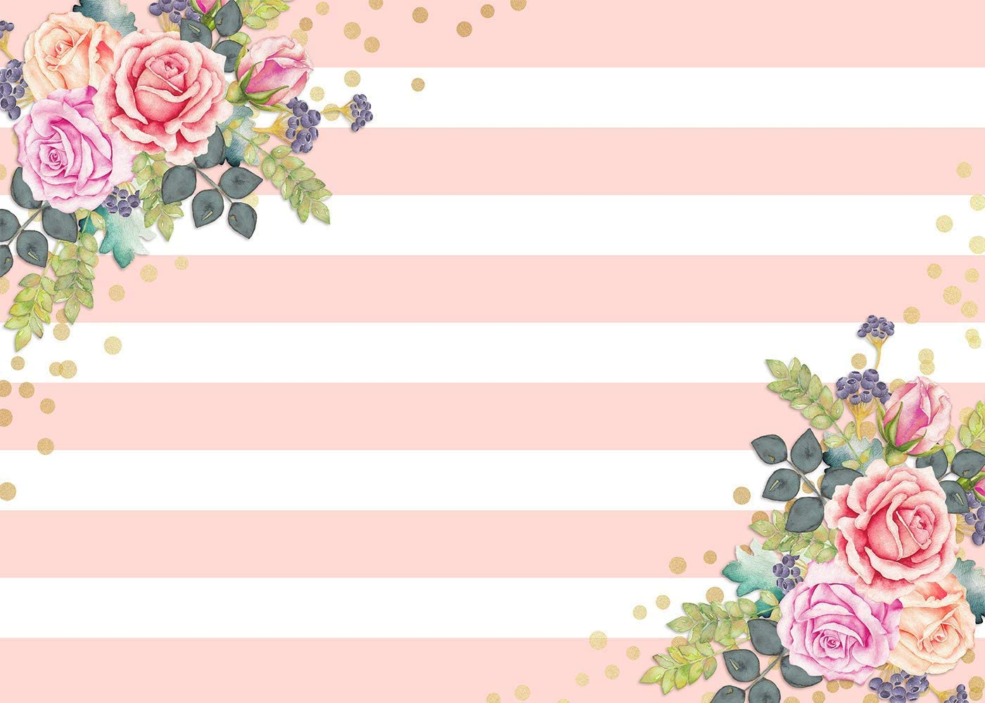10x8ft Flower Background Pink and White Strips Photography Backdrop Birthday Event Photo Props Floral Wall Mural LYFU519
