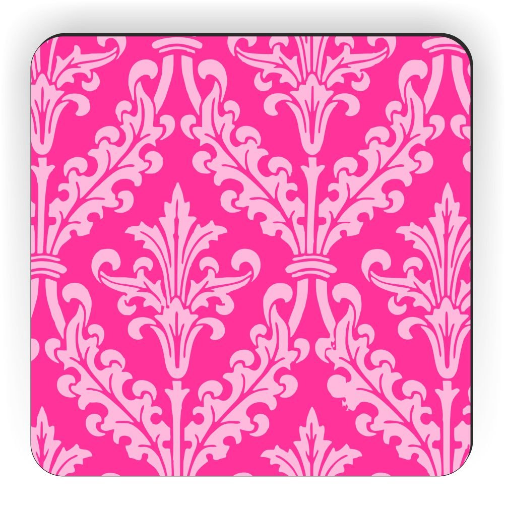 Rikki Caballero Rosa Color Damasco diseño Cuadrado imán para ...