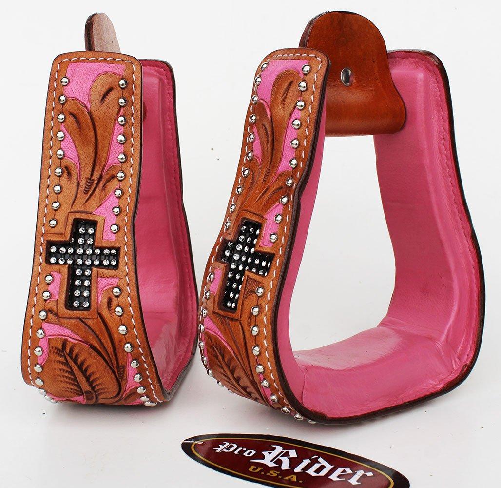 Horse Saddle Western Leather Show Tack Carved Stirrups 51125   B072JZRKS5