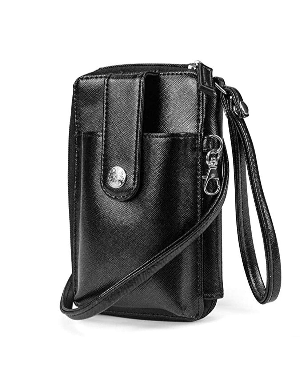 Black MUNDI Jacqui Vegan Leather RFID Womens Crossbody Cell Phone Purse Holder Wallet