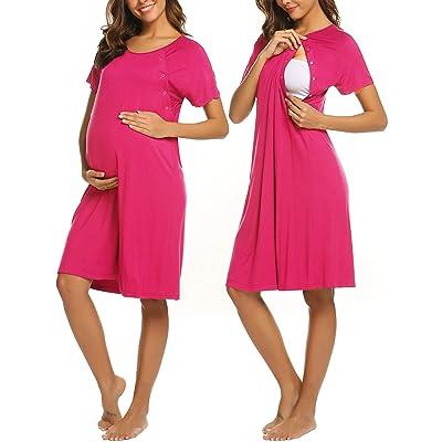 Buy Ekouaer Women's Nursing/Delivery/Labor/Hospital Nightdress Short Sleeve Maternity Nightgown with Button S-XXL Online in Turkey. B083J6CKKR