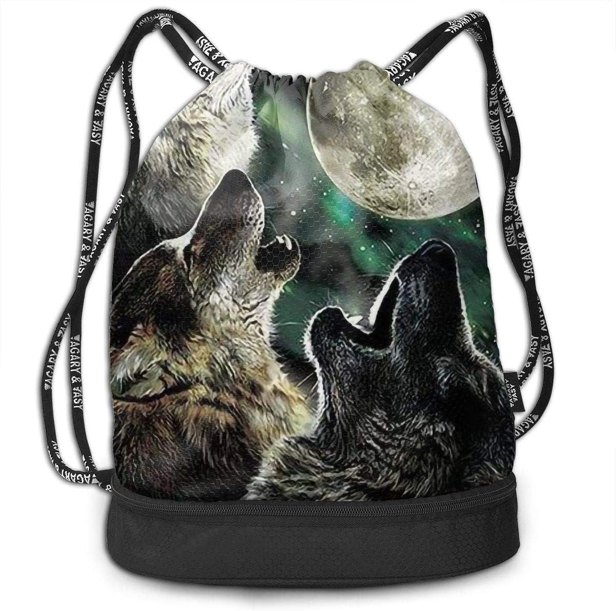 Drawstring Backpack Wolf Moon Gym Bag