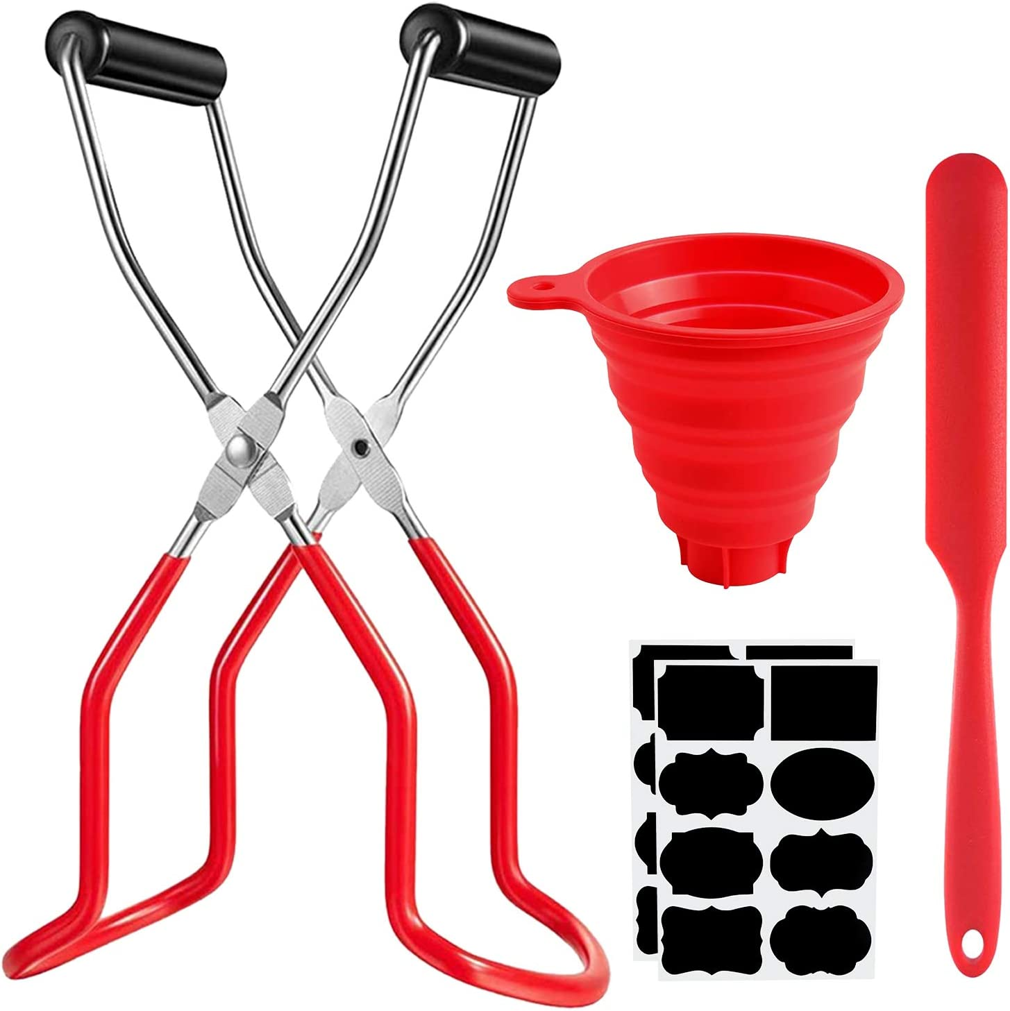 O'woda Canning Jar Lifter with Rubber Grips Set, 4 Piece Home Canning Tool Set, Long Handle Canning Tongs Stainless Steel Lifter Cans Gripper for Jars Safe and Secure Grip, Red