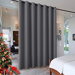 RYB HOME Room Divider Curtains - Privacy Space Wall Divider Screens Sound Proof Blackout Curtains for Living Room Bedroom Patio Sliding Door Thanksgiving Gift, 1 Panel, Grey, 12.5ft Wide x 8ft Tall
