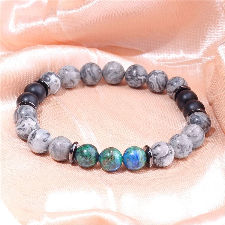LM-wy Natural Map Jaspers Bracelet Femme Energy Jewelry Polished Royal Blue Tiger Eye Stone Beads Bracelet Women Friendship Bracelet