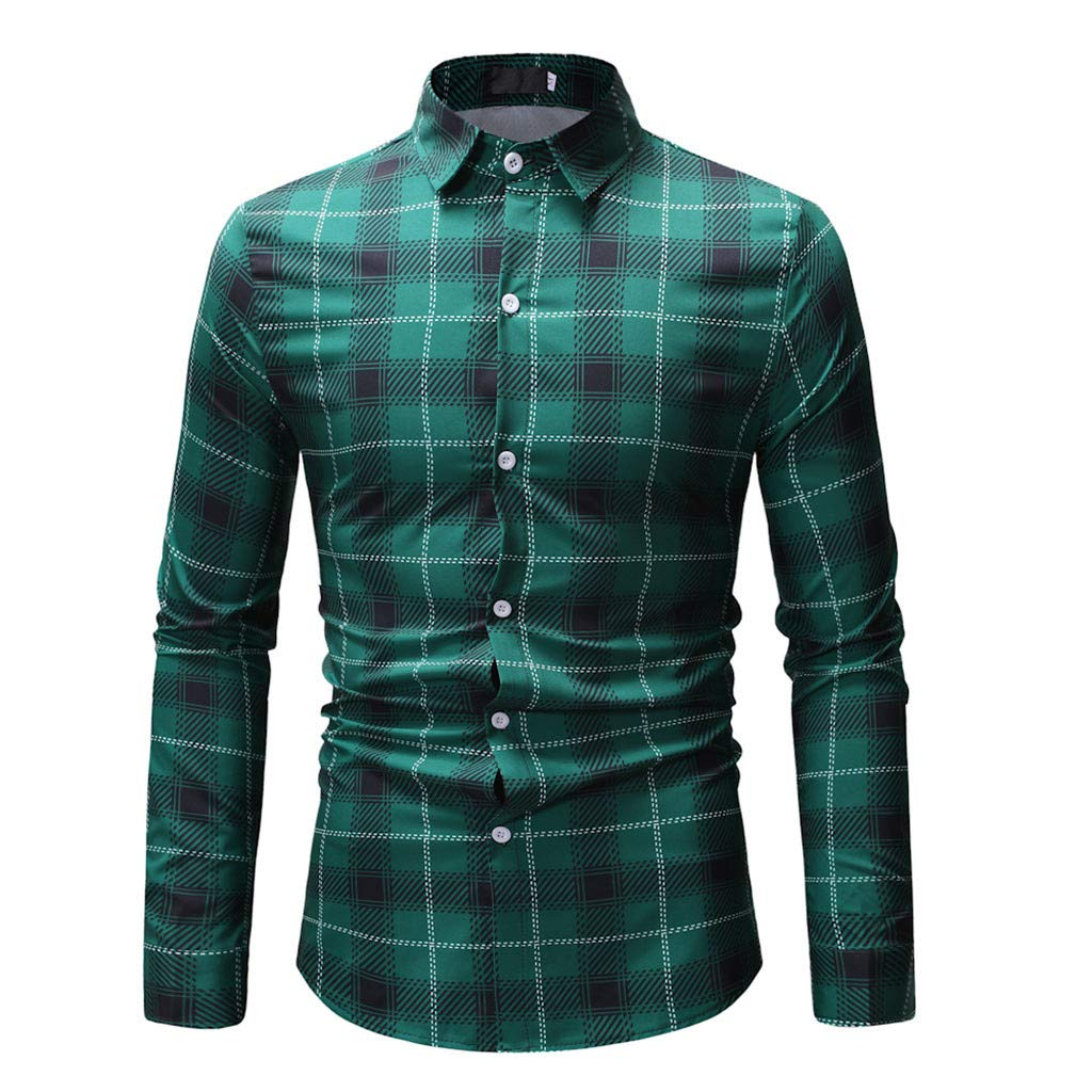 GREFER Fashion Plad T Shirt Men Spring Casual Long Sleeve Tops Blouse Green by GREFER