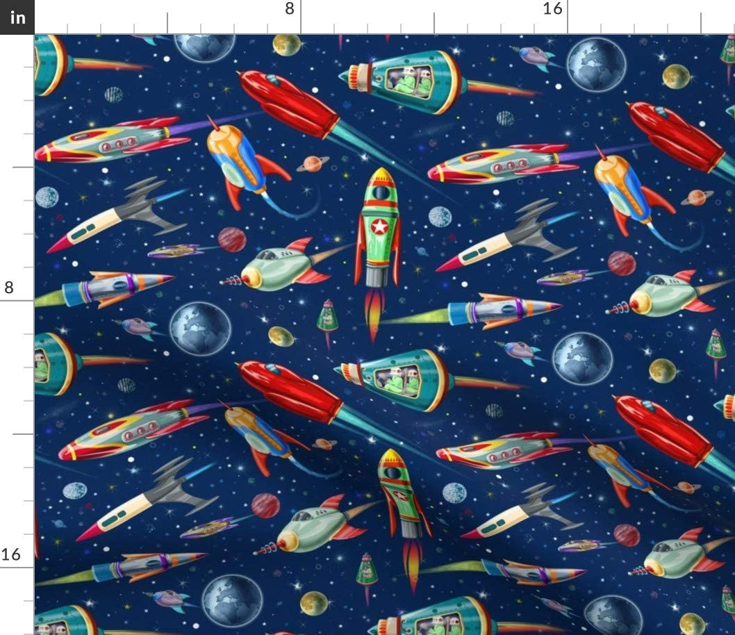 Spoonflower Fabric - Scale Fantasy Space Rocket Moon Stars Astronaut Retro Vintage 1950s Printed on Petal Signature Cotton Fabric by The Yard - Sewing Quilting Apparel Crafts Decor