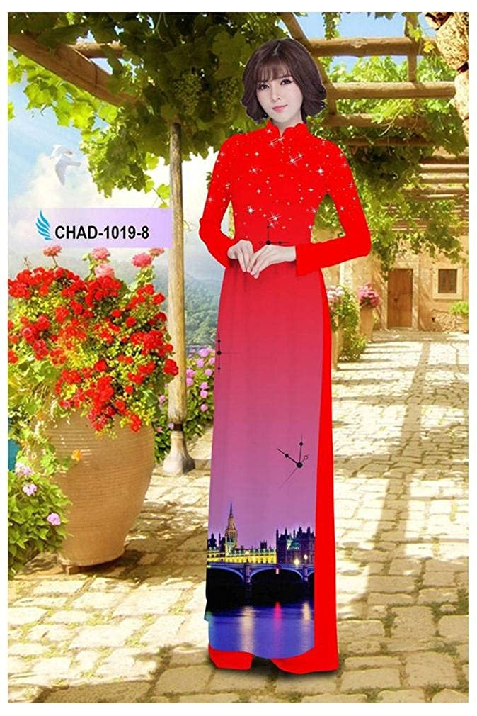 Traditional Vietnamese Long Dress Collections with Pants Silk 3D All Size Ao Dai ADVN00795