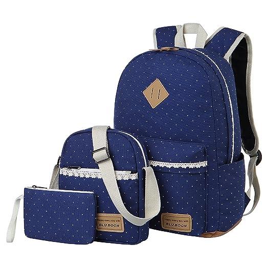 b3d6847b1f Tela Zaino Casual Scuola Zaini Donna Ragazza Canvas Backpack Zainetto 3 in  1 (Blu): Amazon.it: Valigeria
