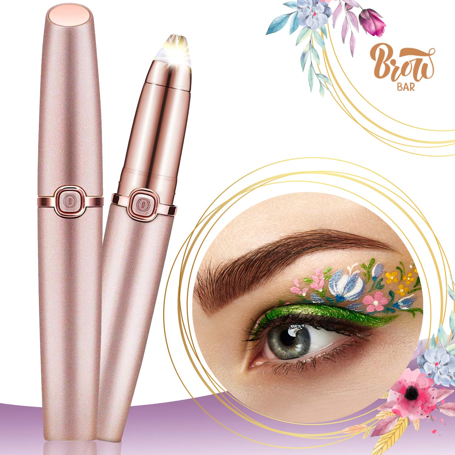 2019 Upgraded Eyebrow Trimmer for Women&Men,Eyebrow Hair Remover, Painless Portable Precision Electric Eyebrow Hair Trimmer, Eyebrow Hair Removal Razor with Light, Rose Gold (Batteries not Included)