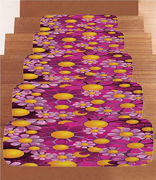 SoSung Antlers - Alfombra de Forro Polar para Escalera, diseño de Cuernos de Ciervo, Ramo de Flores, Ramas de jardín Decorativas de Primavera, Juego de 5 Unidades de 22 x 70 cm: