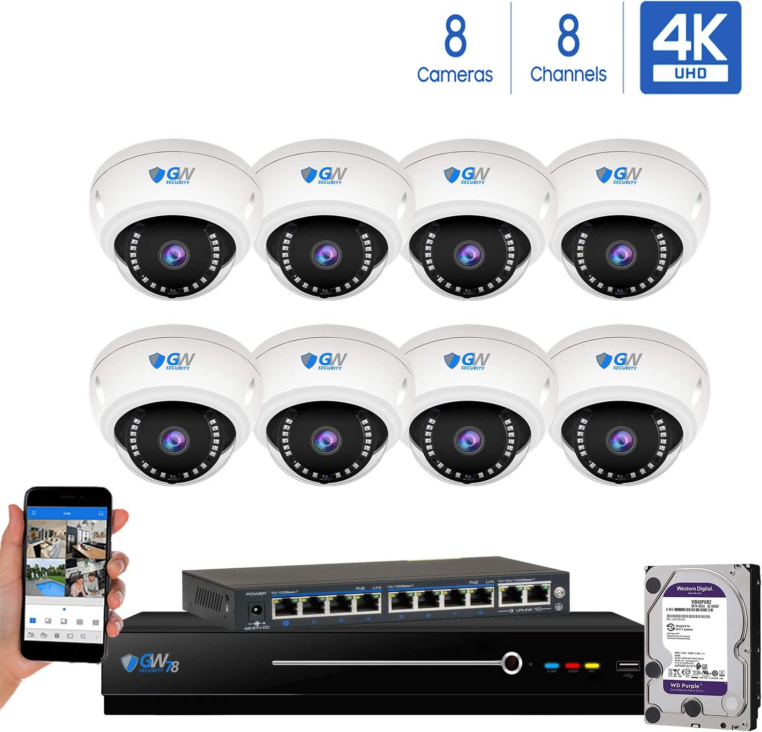 8 Channel 4K NVR 8 Megapixel H.265 4K Security Camera System, 8 Built-in Microphone Audio Recording HD 2160P 4K IP PoE Dome Cameras, QR-Code Connection