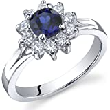 Ornate Floral 0.75 carats Created Sapphire Ring in Sterling Silver Sizes J to S