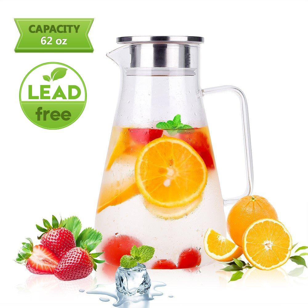 Glass Pitcher Uten Upgrade Clear Water Pitcher with Solid Handle+ Anti-Overflow V-Opening Mouth Pour Premium Refrigerator Pitcher for Juice,Coffee,Ice Cold Water,Hot Water,Tea,etc. [1.8 L, 62 Oz] UT-2